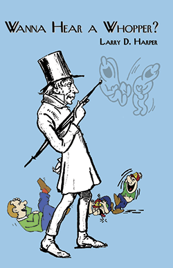 old man soren kierkegaard in top hat holding an umbrella while three people laugh in the distance